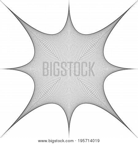 Abstract monochrome line grid pattern kaleidoscope curved star - vector graphic design from thin black stripes on white