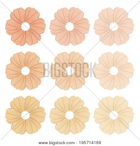 Smears of foundation for face. Conceptual flower from concealer smears. Isolated on white background