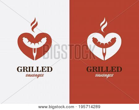 Creative concept with grilled sausage in a heart shape. Grill bbq hotdog love symbol. Fast food logo icon.