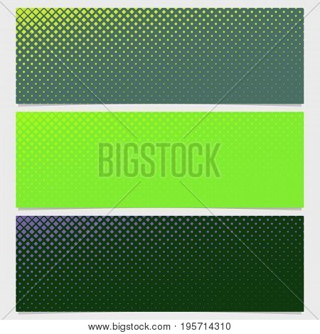 Halftone square pattern banner template design set - vector illustration from diagonal squares in varying sizes