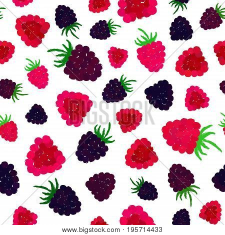 Raspberry Blueberry Background. Berry Painted Pattern. Seamless chaotic decoration for kitchen wallpaper, poster print, furniture textile, fashion fabric. Bright slices with leaf. Vector illustration.