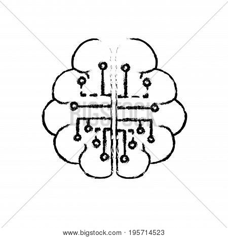 figure anatomy brain with circuits digital connection vector illustration
