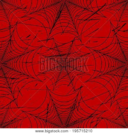 Scratched spider web seamless pattern black and red vector illustration
