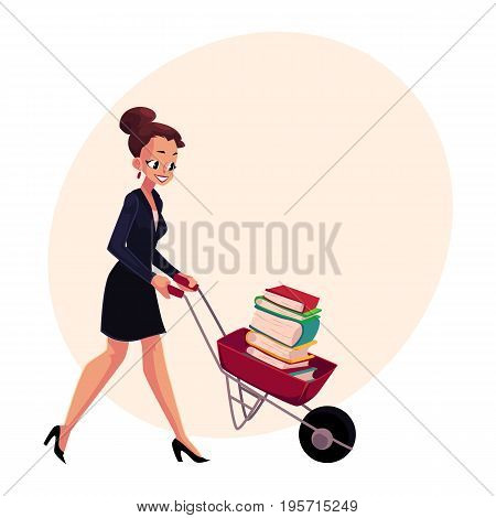 Happy woman, girl, businesswoman pushing wheelbarrow full of books, cartoon vector illustration with space for text. Businesswoman, woman, girl pushing barrow with books, studying concept