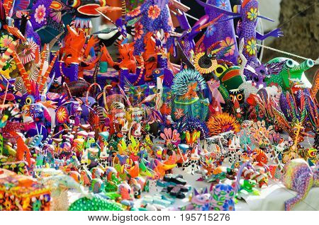 OAXACA MEXICO - MARCH 4: Traditional handicrafts known as alebrijes from Oaxaca Mexico on March 4 2017