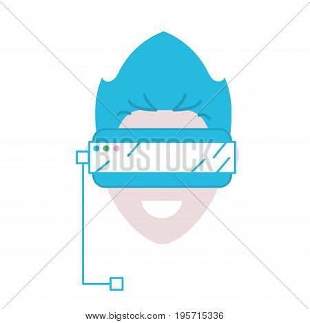 boy face with 3d glasses to dimension experience vector illustration