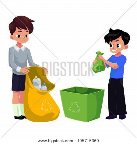 Kids, boys collect plastic bottles into garbage bag, waste recycling concept, cartoon vector illustration isolated on white background. Two children, boys collect garbage together