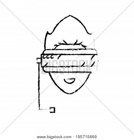 figure boy face with 3d glasses to dimension experience vector illustration