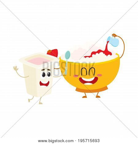 Smiling bowl of cottage cheese and yougurt cup characters, healthy breakfast ingredients, cartoon vector illustration isolated on white background. Funny cottage cheese bowl and yougurt cup character