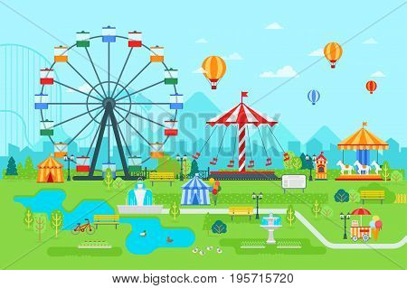 Amusement park vector flat illustration at daytime with ferris wheel, circus, carousel, attractions, landscape and city background