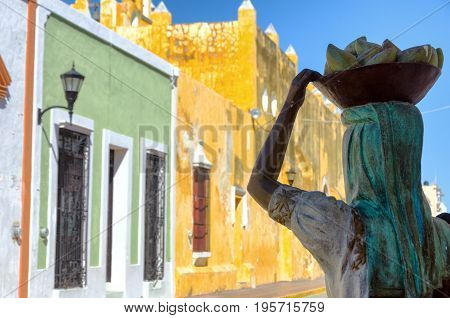 CAMPECHE MEXICO - FEBRUARY 23: Beautiful woman sculpture in colorful street in Campeche Mexico on February 23 2017