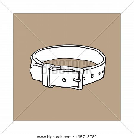Pet, cat, dog brown leather collar with metal buckle, black and white sketch style vector illustration isolated on brown background. Hand drawn pet, dog buckle collar made of thick leather