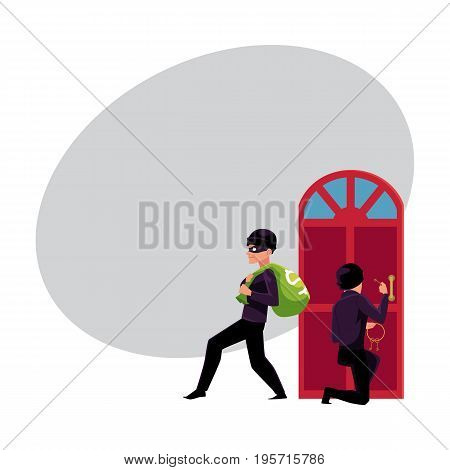 Thief, burglar, robber breaking in house, walking away with money bag, cartoon vector illustration with space for text. Burglar, robber, thief breaking into house, going away with money