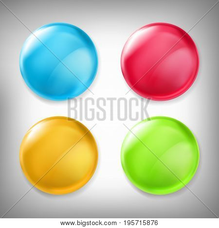 Set of vector 3D design elements, glossy icons, buttons, badge blue, red, yellow and green isolated on gray. Can be used as sales buttons, signs of promotions, special offers, discounts and sales