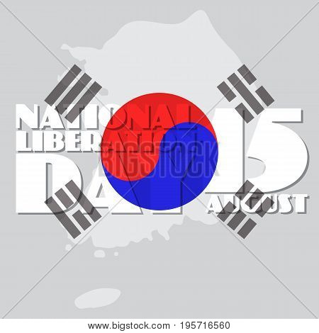 National Liberation Day, greeting card, vector illustration of South Korea Map with Flag.