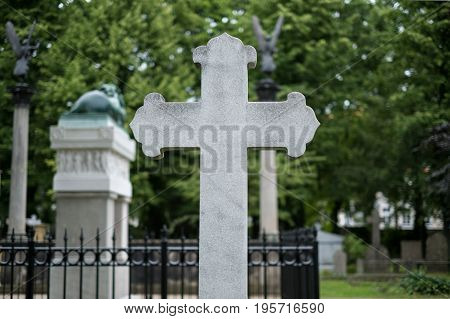 Stone Cross Gravestones On Cemetery - Graveyard
