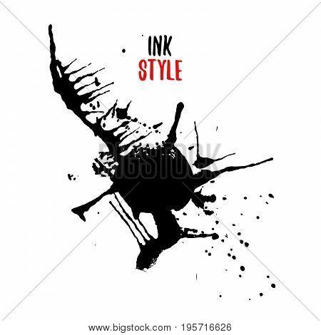 Black blot or splash on white background in ink style. Vector isolated illustration