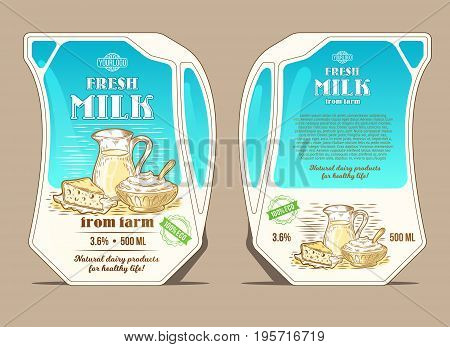 Vector illustration in the engraving style, design packaging for milk, lean pack in the form of a jug with hand-drawn milk products. Eco-friendly packaging for natural milk and liquid dairy products