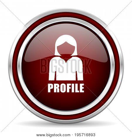 Profile red glossy icon. Chrome border round web button. Silver metallic pushbutton.