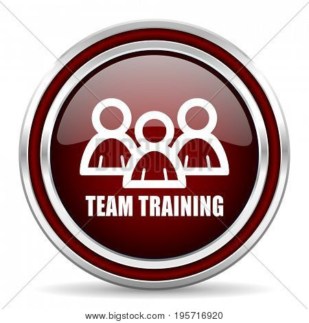 Team training red glossy icon. Chrome border round web button. Silver metallic pushbutton.