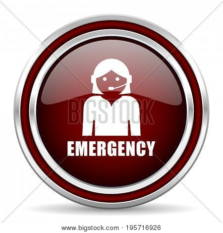 Emergency red glossy icon. Chrome border round web button. Silver metallic pushbutton.