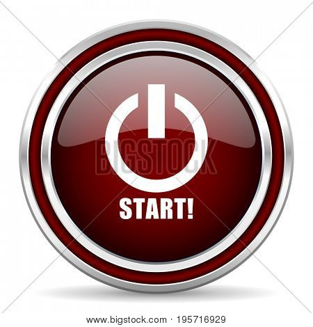 Start red glossy icon. Chrome border round web button. Silver metallic pushbutton.