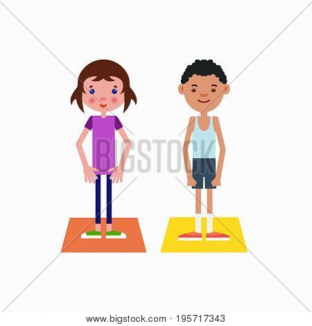 Girl european appearance and african-american boy got ready for the physical exercises