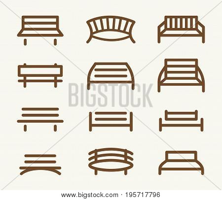Isolated abstract brown color park bench element logos set in lineart style on white background vector illustration.
