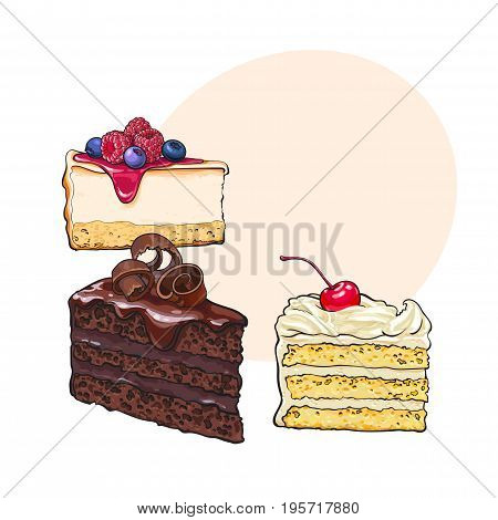 Hand drawn desserts - pieces, slices of cheesecake and layered vanilla cake, sketch style vector illustration with space for text. Realistic hand drawing of cheesecake and layered cake pieces