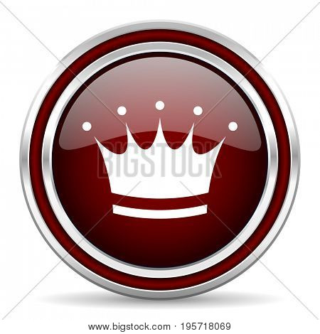 Crown red glossy icon. Chrome border round web button. Silver metallic pushbutton.