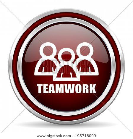 Teamwork red glossy icon. Chrome border round web button. Silver metallic pushbutton.