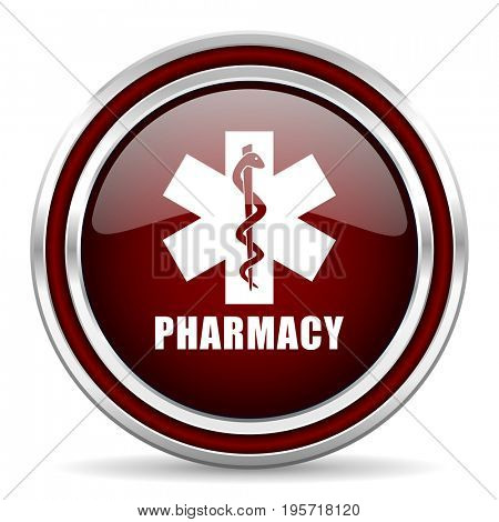 Pharmacy red glossy icon. Chrome border round web button. Silver metallic pushbutton.