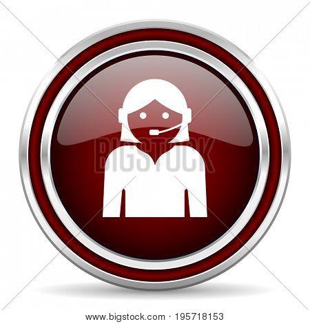 Female red glossy icon. Chrome border round web button. Silver metallic pushbutton.