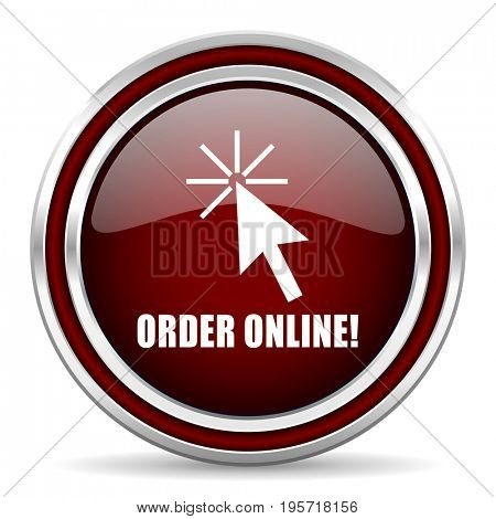 Order online red glossy icon. Chrome border round web button. Silver metallic pushbutton.