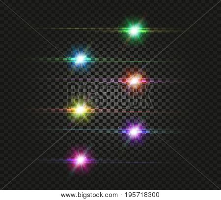 Flash space. Green Turquoise Yellow Red Pink Violet Purple Bright cosmic stars flash set on a black transparent background