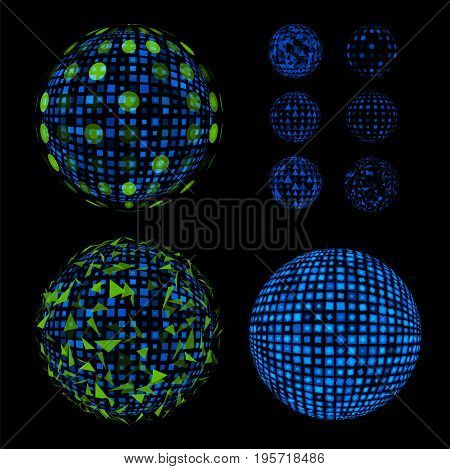 Abstract unusual net with light effects design illustrations set. Disco vector luminous Ball