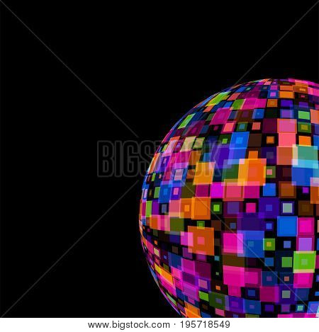 Colorful Mirror Disco Ball on black background template for party club, Events, celebrations, anniversaries vector illustration. Colored, translucent squares squares overlapping each other.