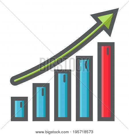 Business growth colorful line icon, business and financial, vector graphics, a filled pattern on a white background, eps 10.