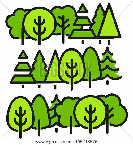 Isolated green color trees in lineart style set, forest, park and garden flat vector illustrations collection.