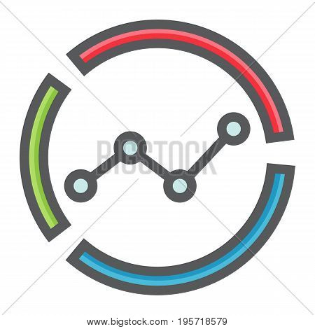 Market analysis colorful line icon, business and diagram, vector graphics, a filled pattern on a white background, eps 10.