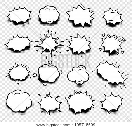 Isolated abstract black and white color comics speech balloons icons collection on checkered background, dialogue boxes signs set, dialog frames vector illustration