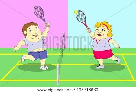 fat man and fat woman in sportswear playing tennis on the court