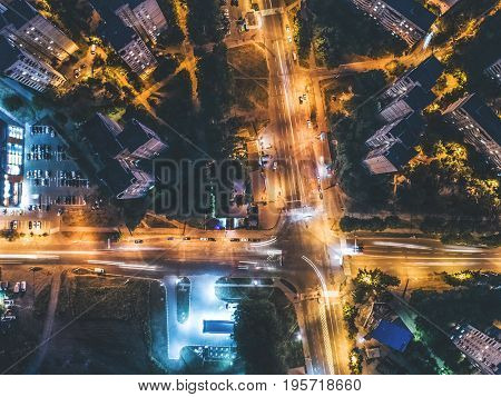 night crossroad top view, aerial shoot