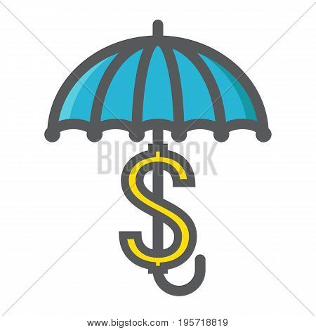 Business Insurance colorful line icon, umbrella and dollar sign, vector graphics, a filled pattern on a white background, eps 10.