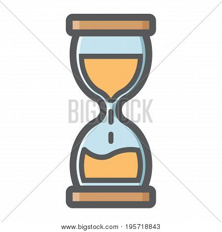 Hourglass colorful line icon, business and deadline, vector graphics, a filled pattern on a white background, eps 10.
