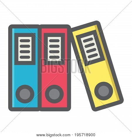 Binders colorful line icon, business and folder, vector graphics, a filled pattern on a white background, eps 10.