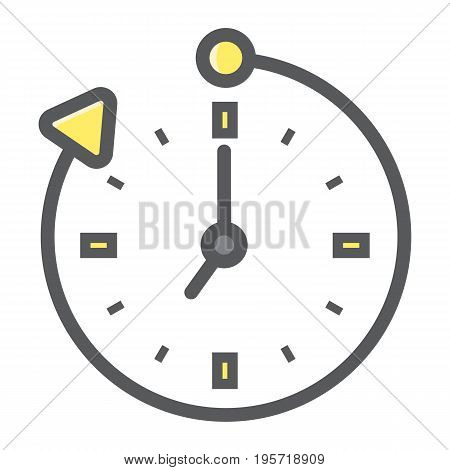 Overtime colorful line icon, business and clock, vector graphics, a filled pattern on a white background, eps 10.