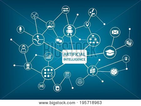 Artificial Intelligence (AI) infographic vector illustration with network and icons