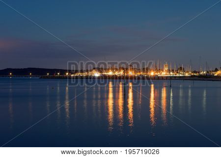 Nightfall seascape at Yarmouth on the Isle of Wight