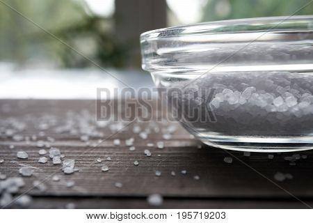 White Sea Salt In Glass Bowl